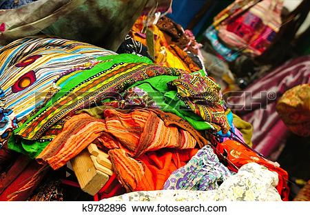 Stock Images of Oriental market with fabrics k9782896.