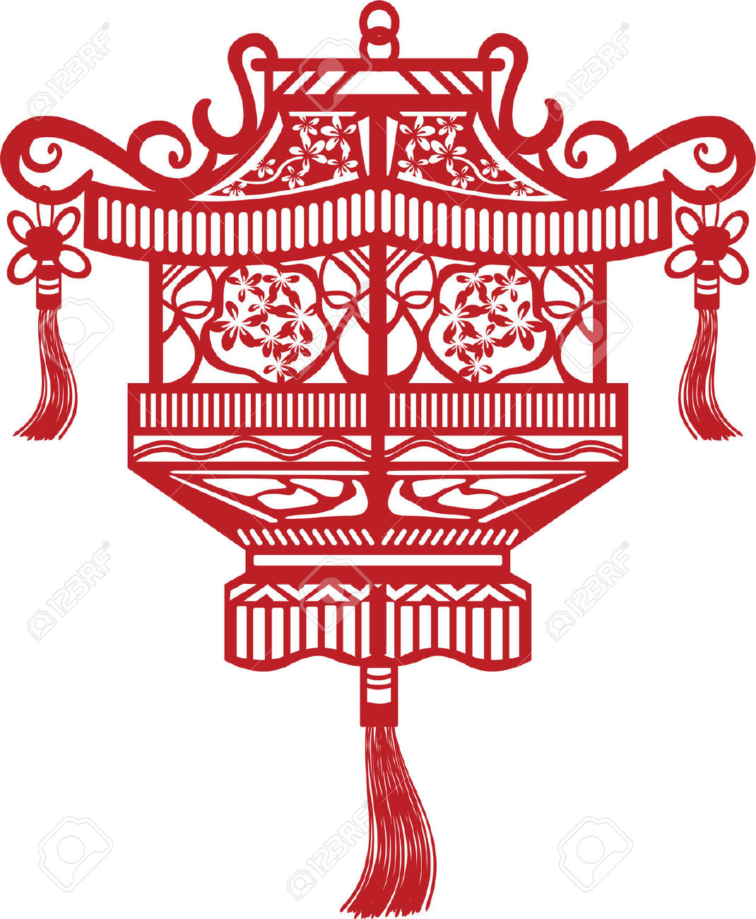 Traditional Chinese Oriental Lantern Royalty Free Cliparts.