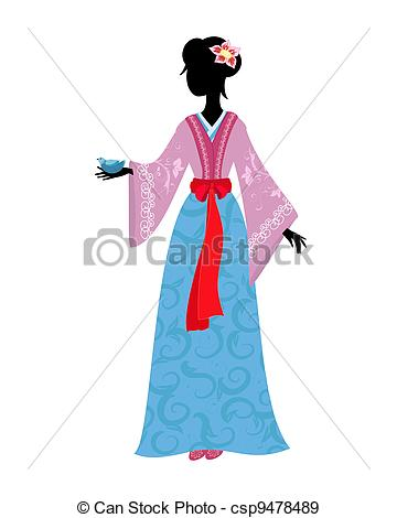 EPS Vectors of Chinese woman in traditional costume with a bird.