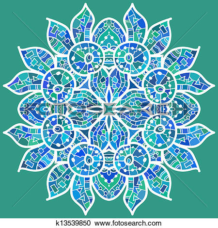 Clipart of Oriental traditional ornament motif k13539850.