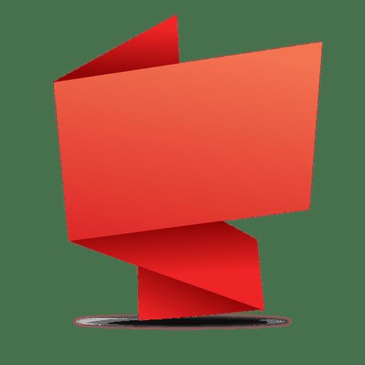 Red rectangular origami banner.