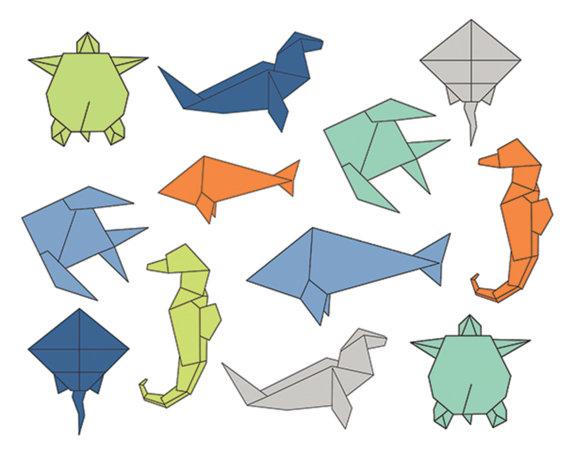 60% off Clip Art Sale, Origami Sea Clipart, Digital Design.