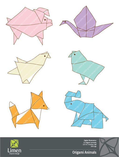 Origami Animals Clip Art.