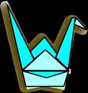 Blue Origami Crane Clip Art at Clker.com.