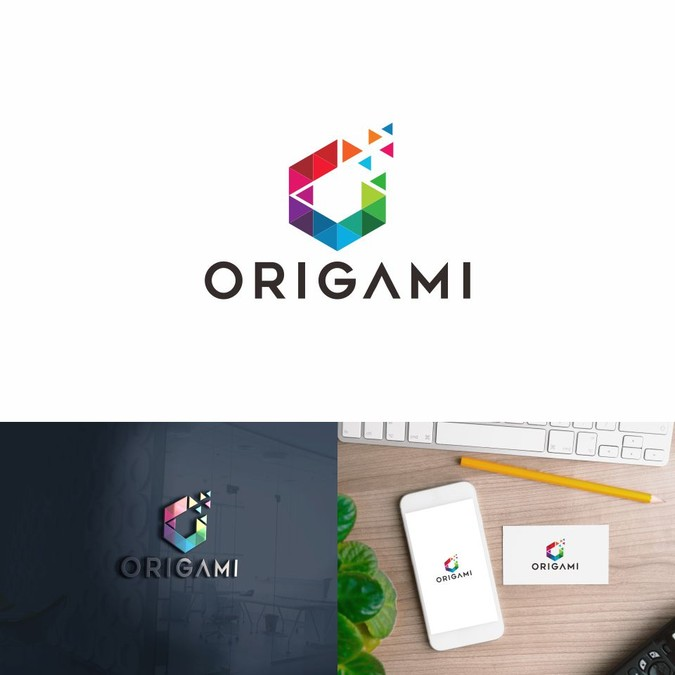 Origami logo design for a business management platform.