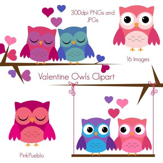 Valentine Owls Clipart Valentine Owls Clip Art by PinkPueblo.
