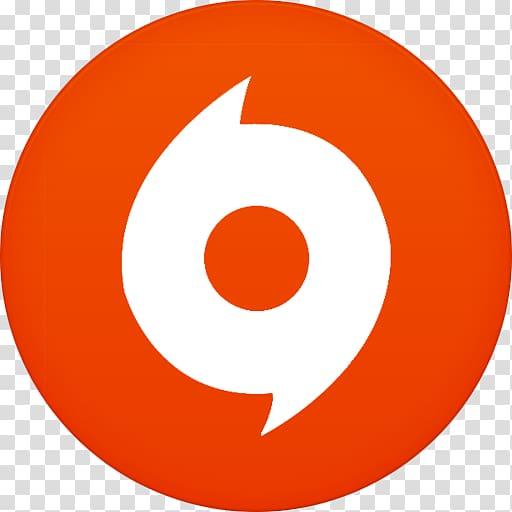 Round white and orange logo illustration, area symbol point.