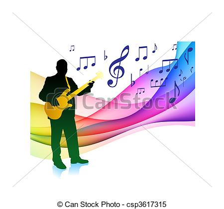 Clipart Vector of Bass Player on Musical Note Color Spectrum.
