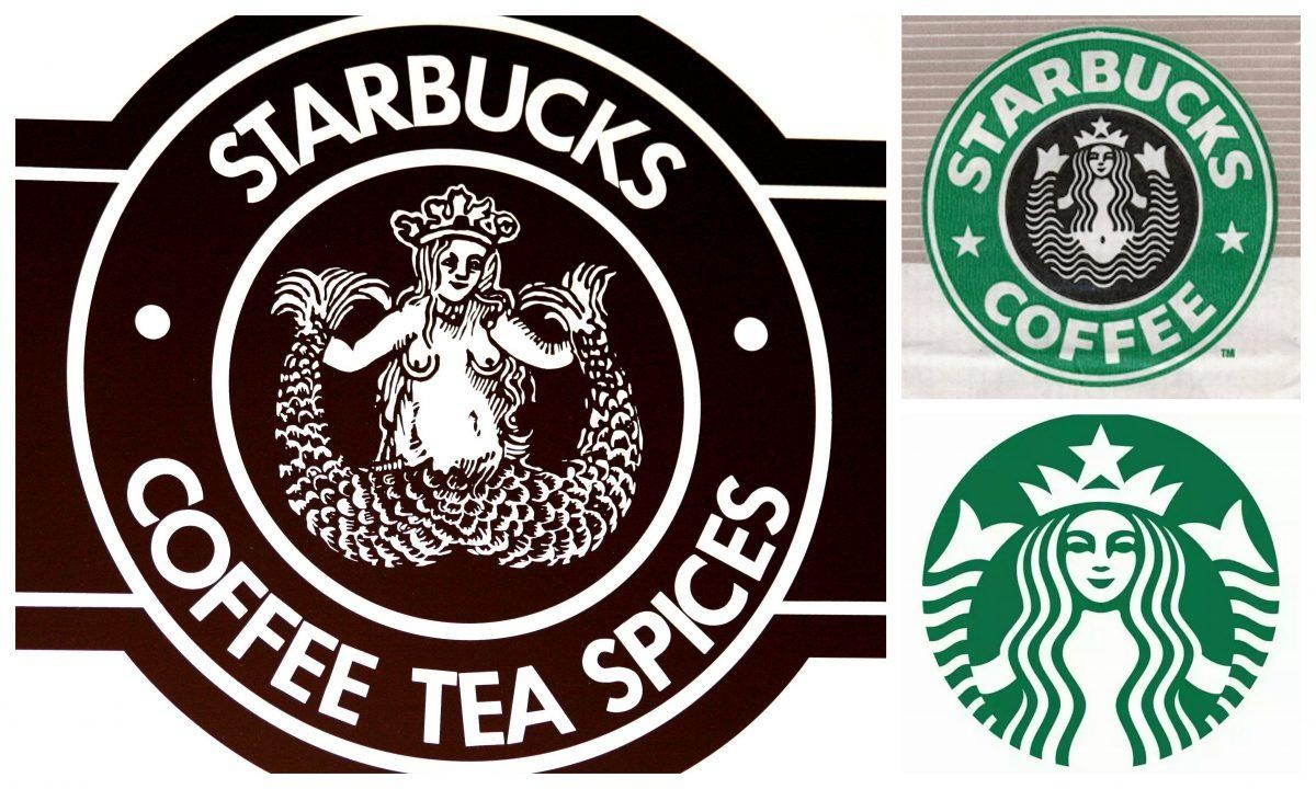 Is the mermaid on the Starbucks sign actually holding up two.