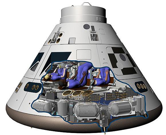 Orion capsule cutaway.