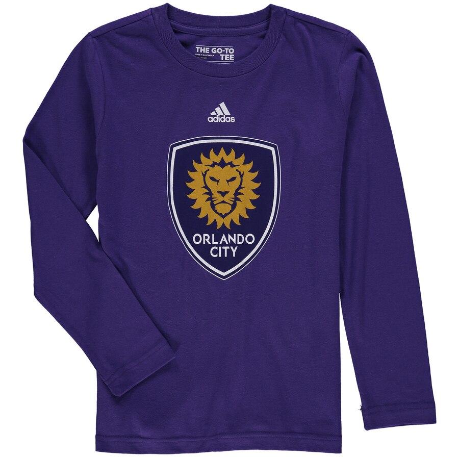 adidas Orlando City SC Youth Purple Logo Long Sleeve T.