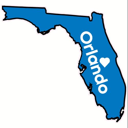 Orlando FL Heart State Sticker.
