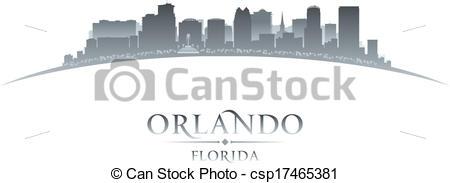 Vector Clip Art of Orlando, Florida skyline city silhouette.