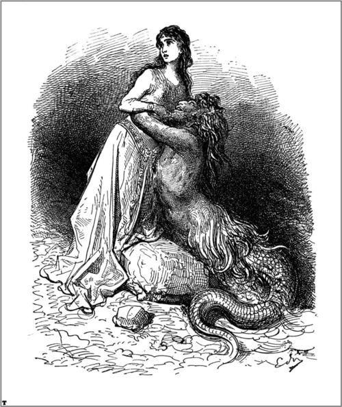 Proteus & the Ebudan princess. Illustration for Ariosto's Orlando.
