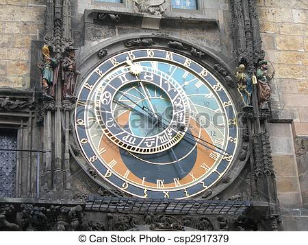 Stock Photographs of Prague Astronomical Clock or Prague Orloj.