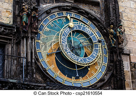 Stock Images of Detail of the Prague Astronomical Clock (Orloj) in.
