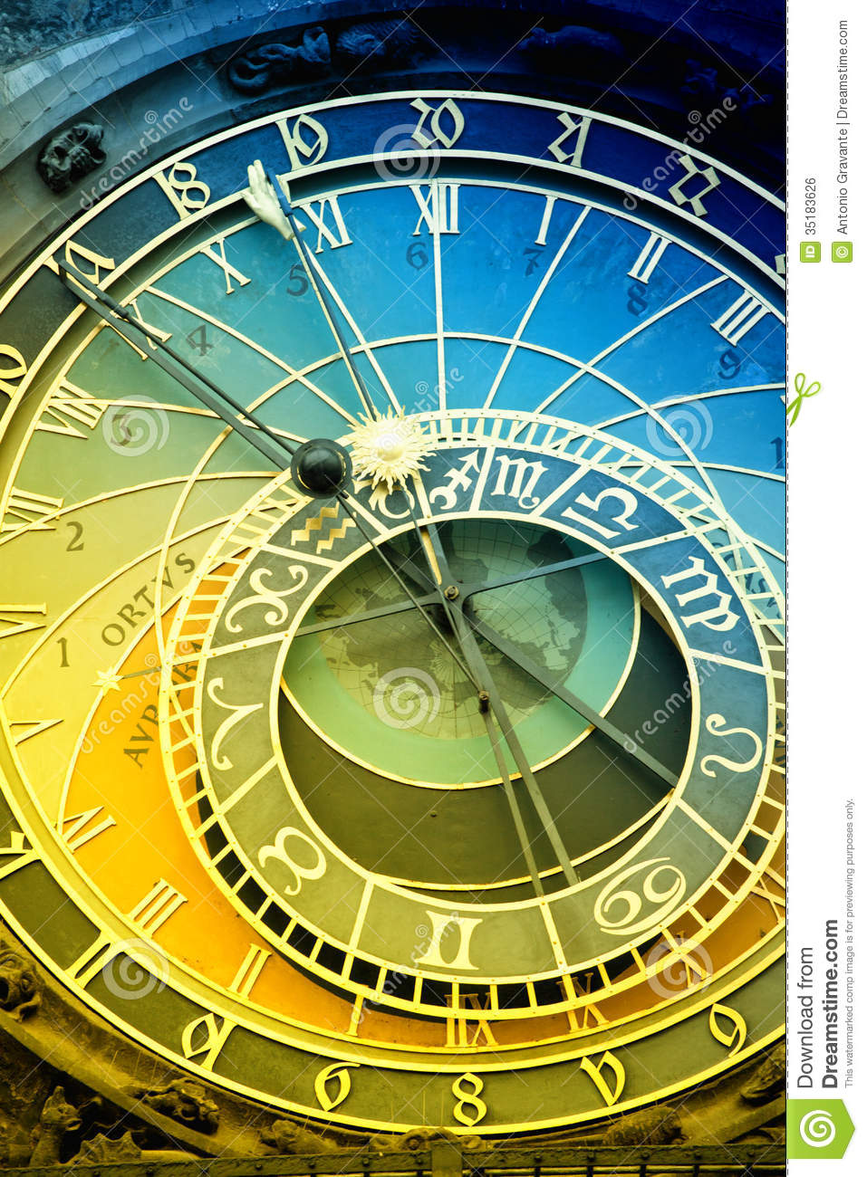 Orloj Astronomical Clock In Prague In Czech Republic Royalty Free.