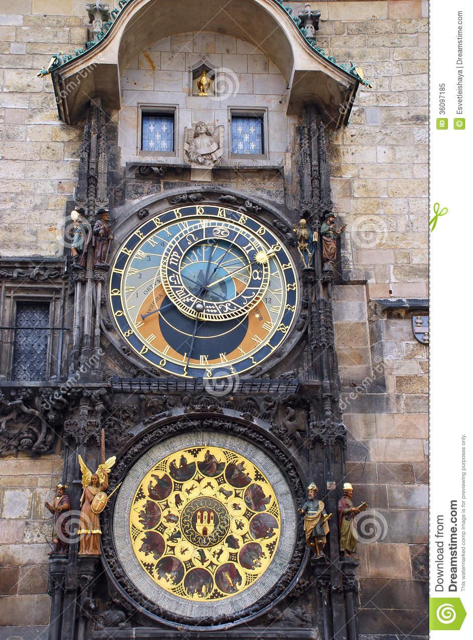The Prague Astronomical Clock, Or Prague Orloj Royalty Free Stock.