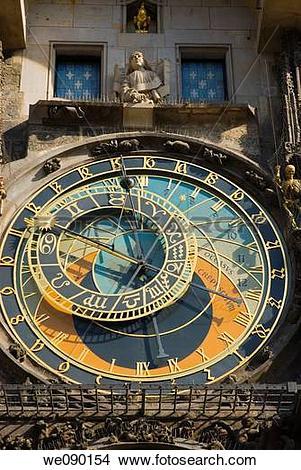 Stock Photo of Astronomical Clock Orloj at Staromestska Radnice.