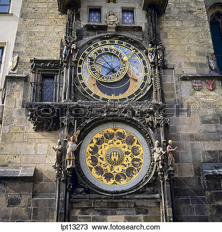 Stock Photo of Orloj astronomical clock at old town city hall.
