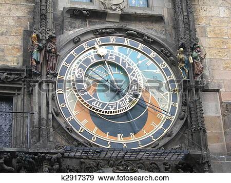 Stock Photograph of Prague Astronomical Clock or Prague Orloj.