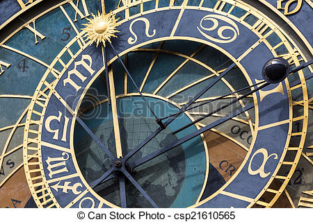 Stock Image of Detail of the Prague Astronomical Clock (Orloj) in.