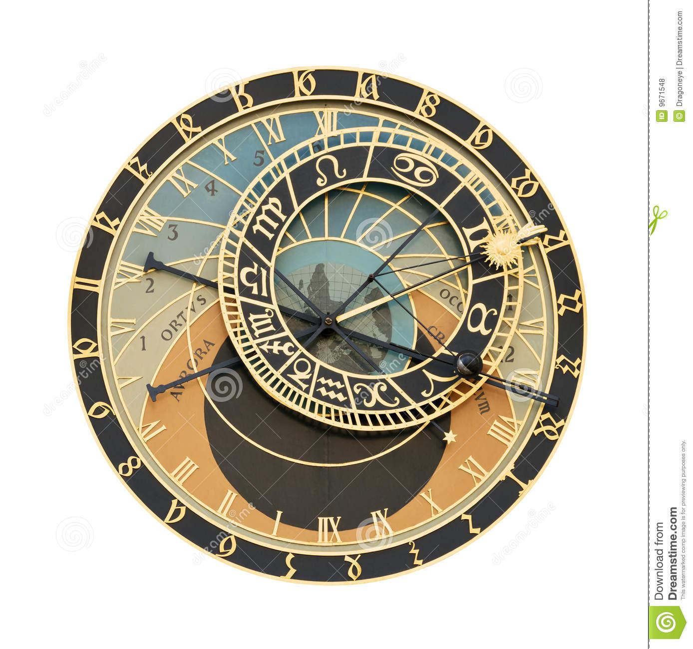Prague Orloj Astronomical Clock Cutout Royalty Free Stock Photos.
