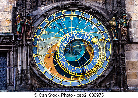 Picture of Detail of the Prague Astronomical Clock (Orloj) in the.