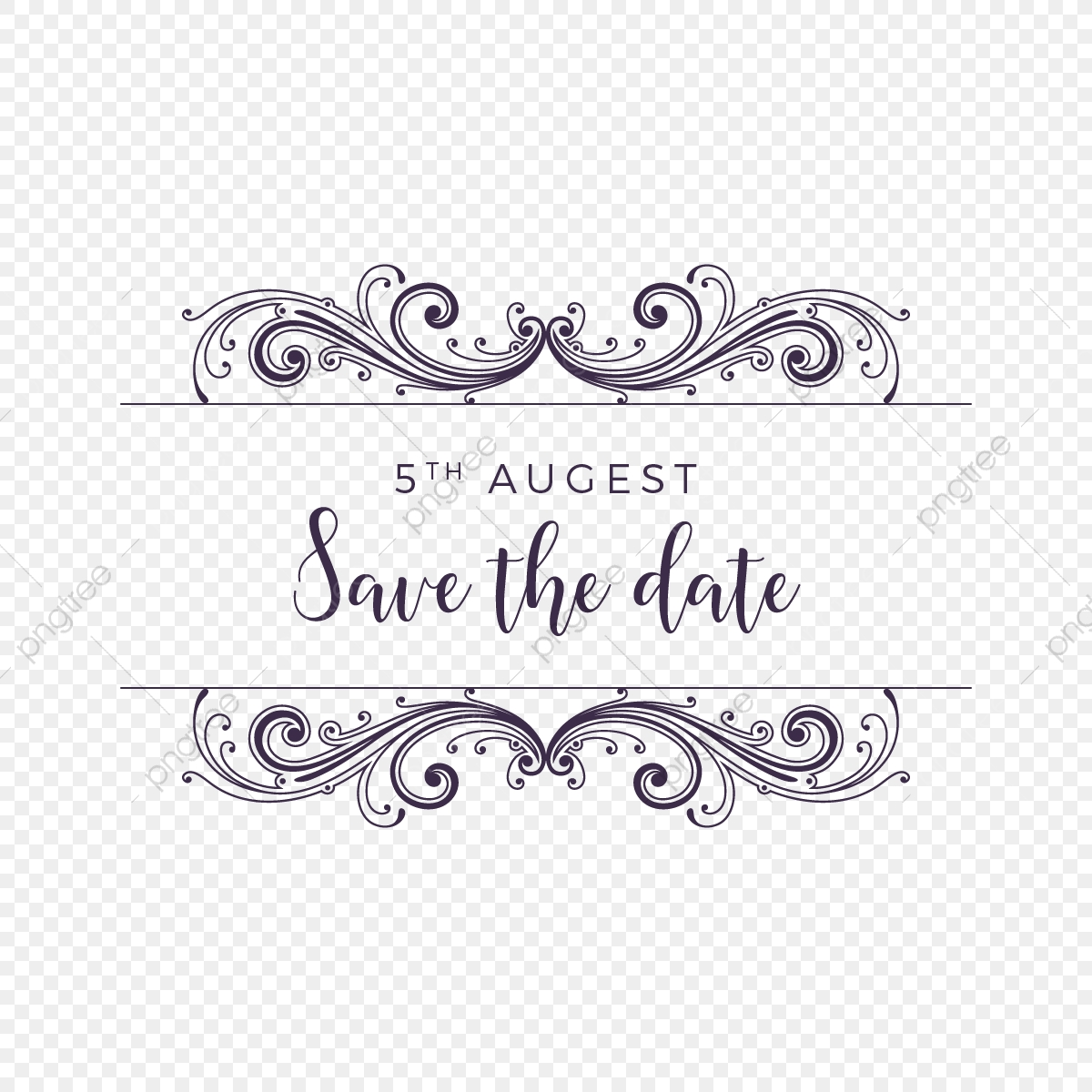 Vintage Style Save The Date Ornament Vector, Vintage.