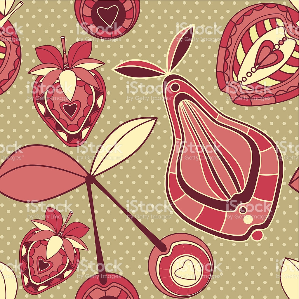 Seamless Pattern With Ornamental Fruits And Berries On Spotted.