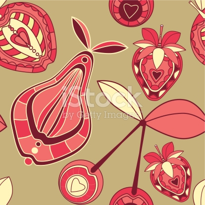 Seamless Pattern With Ornamental Fruits And Berries stock vector.