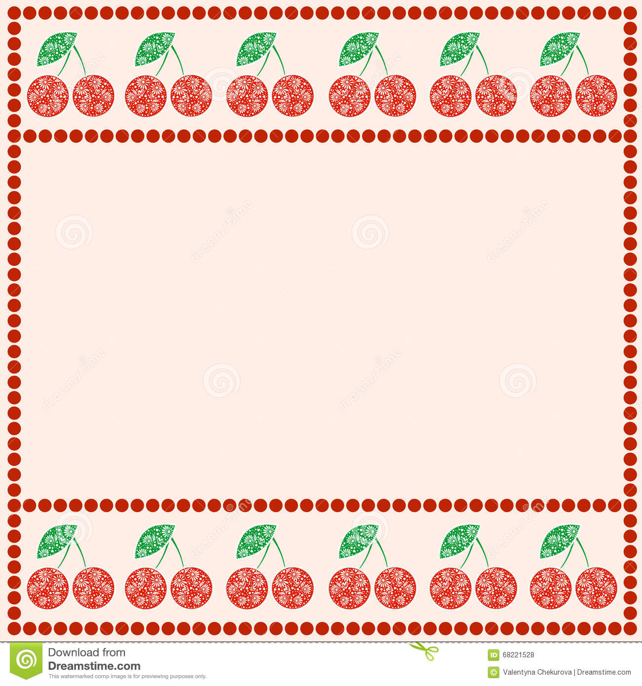 Vector Card With Berries. Empty Square Form With Ornamental.