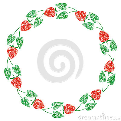 Vector Card With Berries. Empty Round Form With Ornamental.