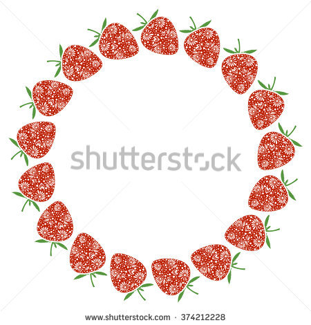 Various Fresh Berry Frame Watercolor Hand Stock Vector 228705694.