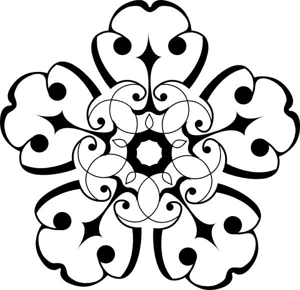 White And Black Ornamental Flower Clip Art at Clker.com.