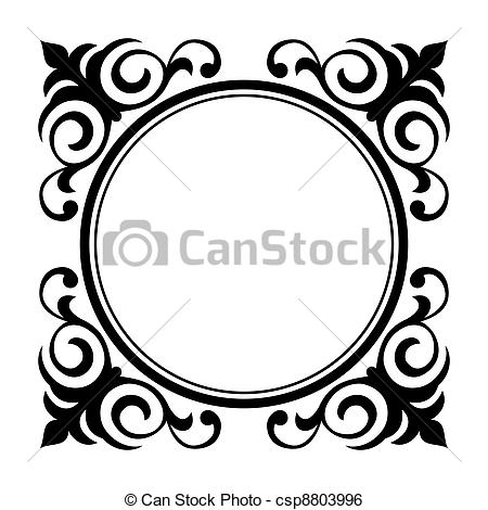 Clip Art Vector of circle ornamental decorative frame.