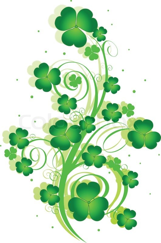 Decorative swirling St. Patrick's Day design with clover.