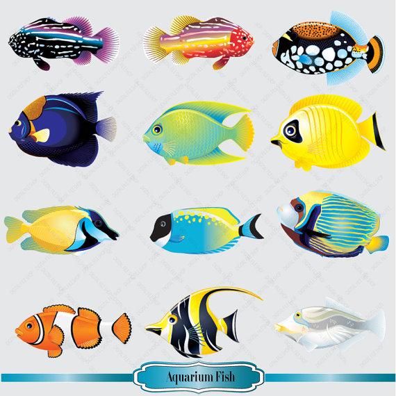 Aquarium Fish Clipart Set Salt Water Fish Clip by DigitalFileShop.