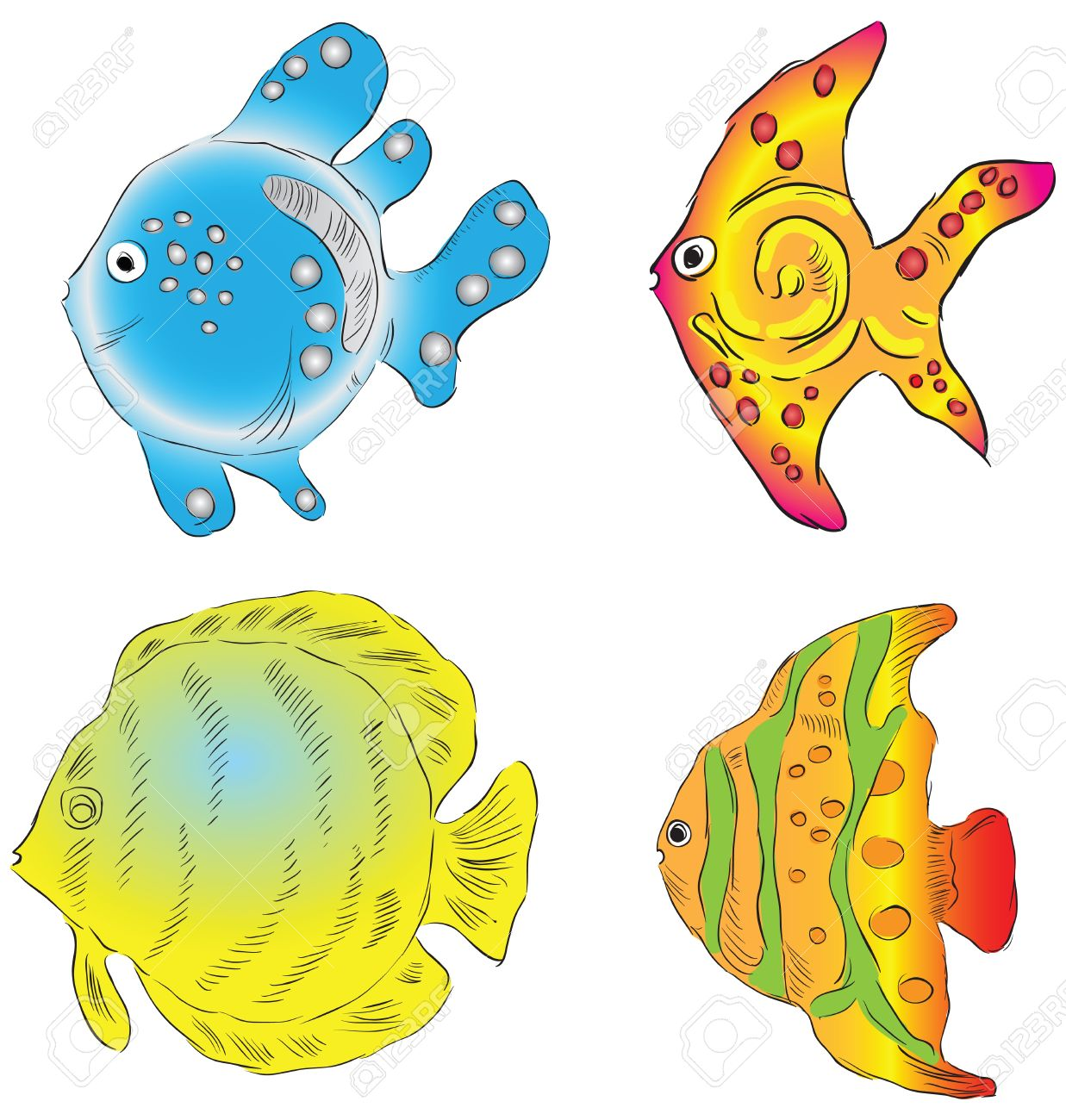 Ornamental Fish From The Southern Seas. Illustration. Royalty Free.