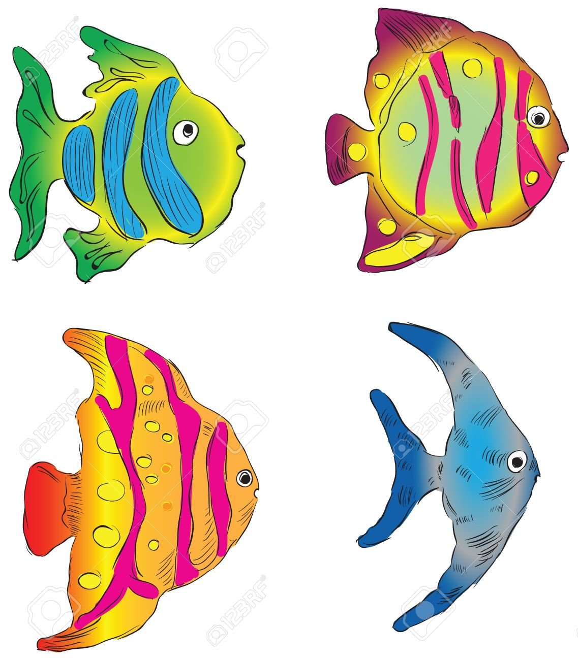 Ornamental Fish From The Southern Seas. Royalty Free Cliparts.