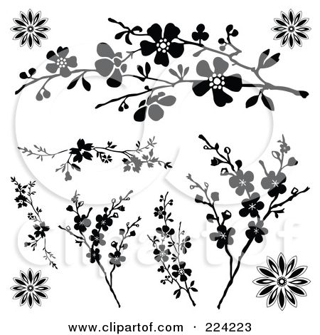 Flower Clip Art Black and White.