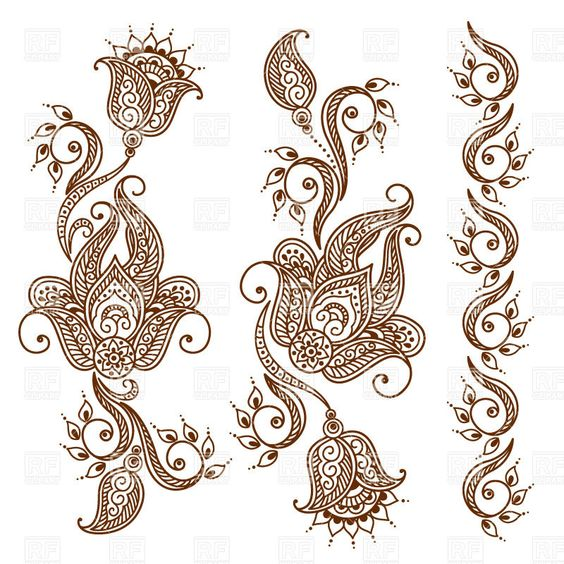 Mehndi style ornamental flower for tattoo.