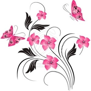 Free butterfly and flower clipart.