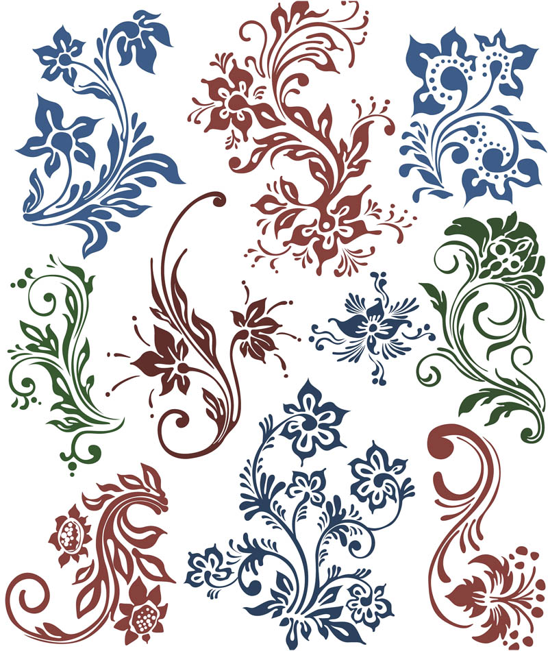 Flower swirls ornaments vector.