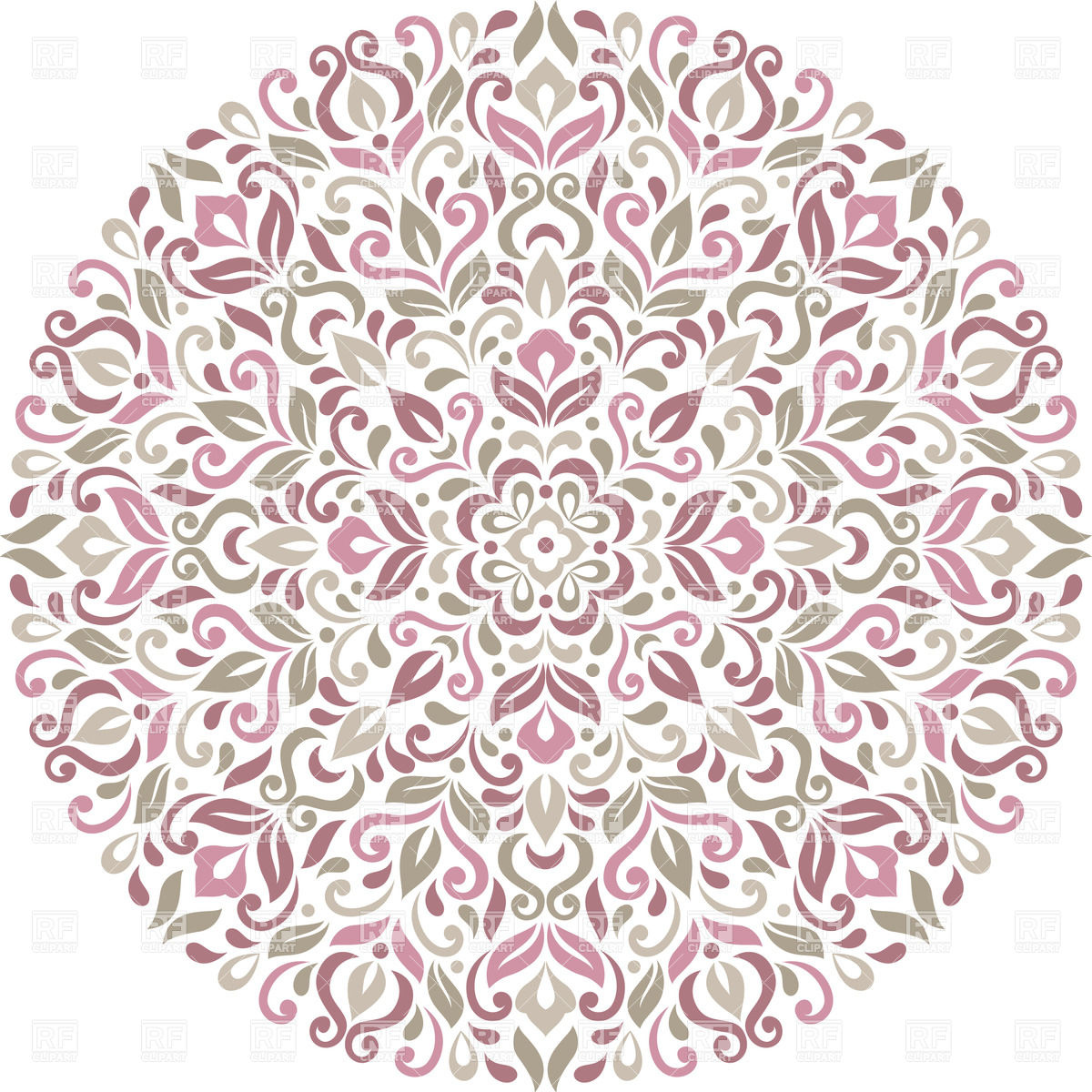 Round floral ornament made of stylized flowers and leafs.