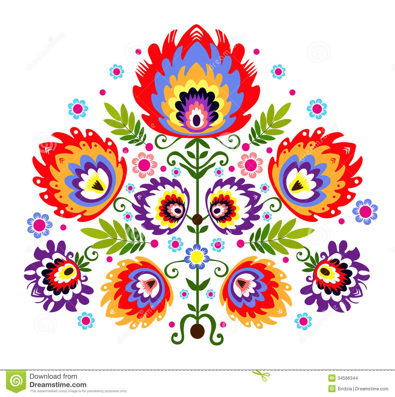 Folk Embroidery Flowers Stock Images.