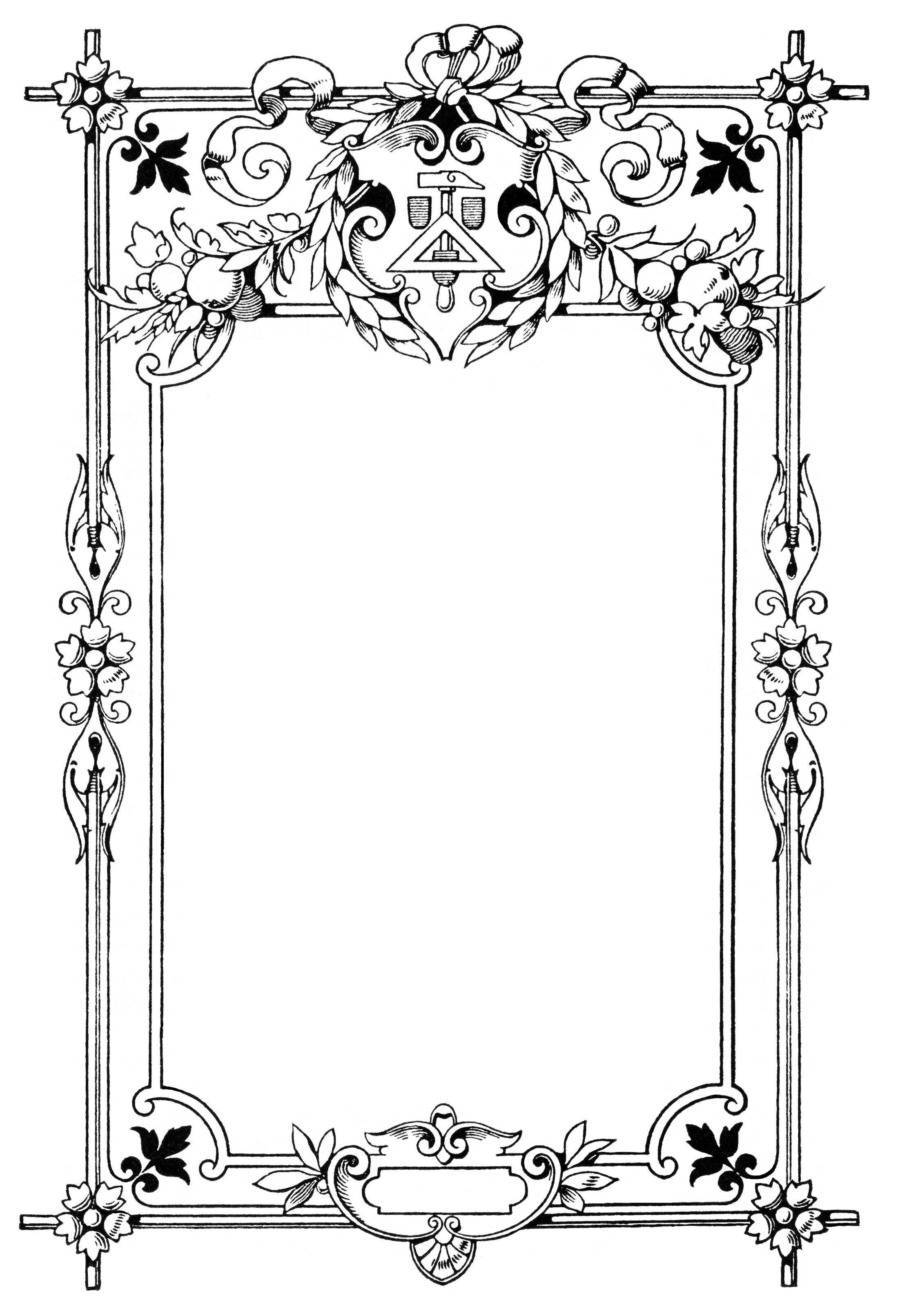 vintage frame clip art, swirly ornate illustration, black.