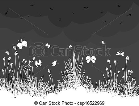 Clip Art Vector of Ornamental garden with birds and butterfly.
