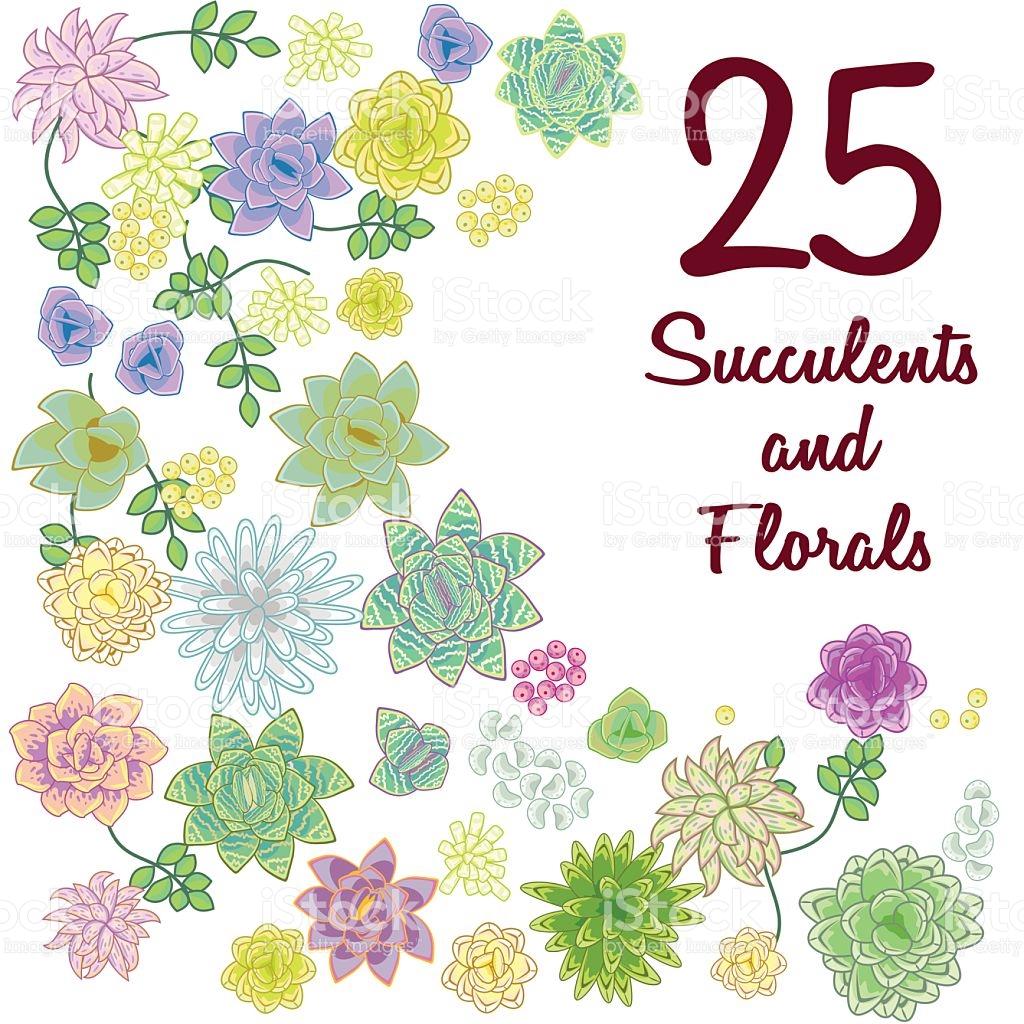 Succulent Garden Clip Art Flowers Element Set stock vector art.