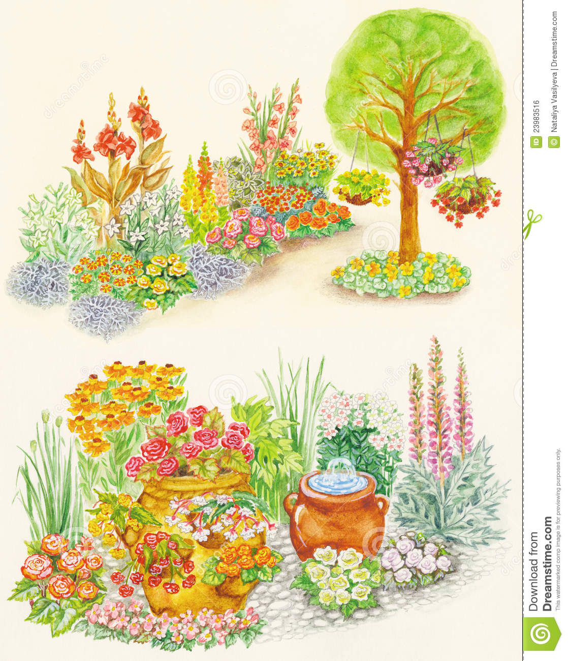 Garden Design Of Flower Beds With Ornamental Flowe Royalty Free.